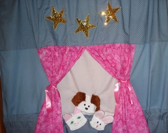 Complete set Doorway Puppet Theater with 3 Sock Puppets;   Dog , Cat and Rabbit