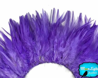 USA Feather Trim, 4 Inch Strip - LAVENDER Strung Chinese Rooster Saddle Feathers : 590