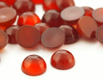 6  Carnelian 4mm Round Cabochon Stones