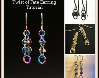Printed Petite Twist of Fate Chainmaille Earring Tutorial