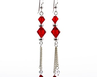 Sale - Dreaming in Red Dangle Earring Kit with Swarovski Crystals - Quick and Easy