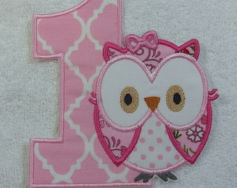 Number 1 Birthday Owl Fabric Embroidered Iron On Applique Patch Ready to Ship
