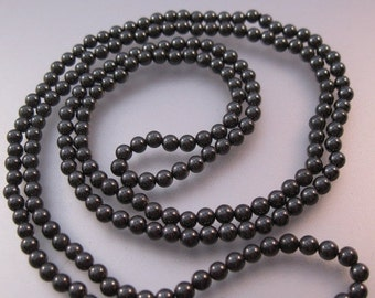 "15% OFF SALE Vintage Hematite Beaded Long Necklace 34"" & 4mm"