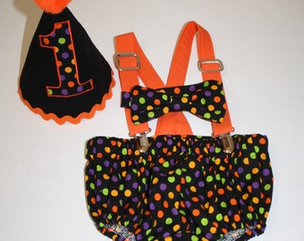 halloween birthday outfit boy first birthday halloween cake smash outfit black orange green 1st birthday hat suspenders diaper cover bow tie