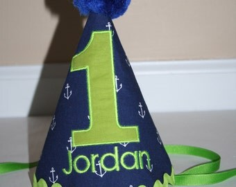 navy nautical boys first birthday hat, boys 1st birthday hat anchors with lime green accents cake smash outfit personalized birthday hat