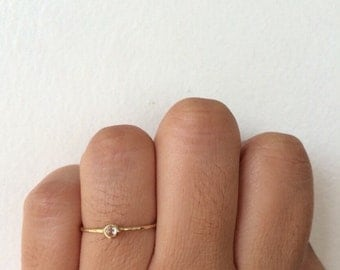 Rose Cut Diamond Ring, Rose Cut Diamond, Diamond Band, Wedding Band, Promise Ring, Stacking Ring, 14k Gold Band, Hammered Band, Wedding Ring