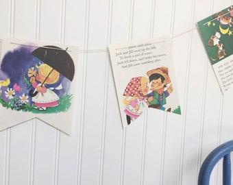 vintage mother goose book party decoration banner garland