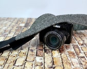 Camera Strap, narrow / Neoprene padded Black Herringbone tweed by Darby Mack / dslr gear / photography equipment / waxed Canvas trim