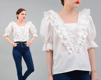 Vintage 70s White PEASANT Shirt Boho Prairie Ruffled Top 1970s Puff Sleeve Blouse Cotton Blend Small Medium S M