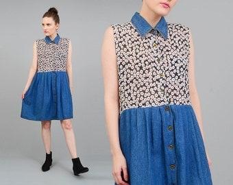 Vintage 90s Dress Floral Gauze + Chambray Denim Collared Button Up Sleeveless Boho Grunge Dress Medium Large M L