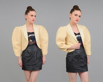 Vintage 80s Cream Sculptural AVANT GARDE Jacket Minimal Puff Sleeve Bolero Jacket Ivory White Small Medium S M