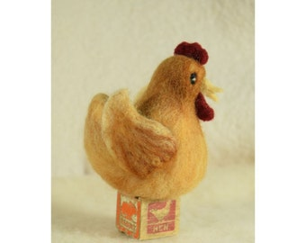 Golden Brown Hen Roosting On An Antique Wooden Block Needle Felt Wool Chicken Country Home Decor