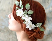 Bridal hair accessory, wedding headpiece, vintage flower comb, millinery comb, bridal hair comb, ivory flower hair vine, hair accessories