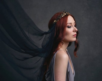 Golden crown, medieval headpiece, black veil, gilded crown, gothic wedding, black wedding, goth bride, circlet, black crown - Persephone