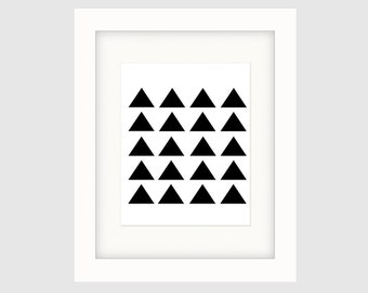 Instant Download Printable Art, Large Triangles, Black & White Art, Minimalist Art Print, Graphic Art, Contemporary Wall Art, Multiple Sizes
