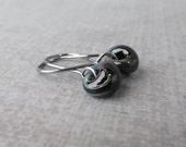 Jet Swirl Black Dangles, Small Earrings, Black Swirl Earrings, Lampwork Earrings Black, Small Black Earrings, Oxidized Silver Wire Earrings