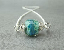 Green Blue Lampwork Necklace, Green Necklace, Blue Necklace, Boro Glass Necklace, Silver Wire Wrapped Lampwork, Sterling Silver Necklace