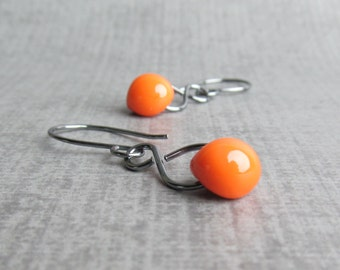 Pumpkin Orange Dangle Earrings, Orange Earrings, Infinity Earring, Dark Silver Infinity Earring, Oxidized Sterling Silver Earrings, Lampwork