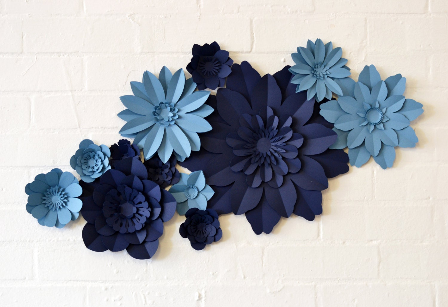 handmade two colour paper flower wall display