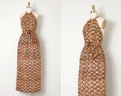 vintage 1970s dress / batik 70s halter maxi dress / Batik Babe