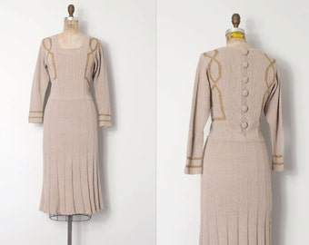 vintage 1940s dress /  40s boucle knit dress / Going Greige