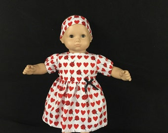 Doll Clothes for Bitty Baby Girl Dolls or Bitty Twin Girl Dolls Love Bugs Lady Bugs Hearts Valentine's Dress