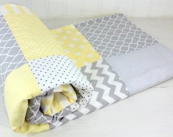 Baby Blanket, Unisex Baby Blanket, Neutral Nursery Decor, Crib Bedding, Patchwork Blanket, Yellow, Gray, Grey, Baby Yellow, Soft Yellow