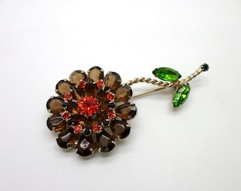 SALE Weiss Pin Brooch Rhinestone Flower Green Topaz Red Big Size