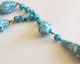 Vintage Art Deco Aqua Blue Czech Faceted Crumb Glass Bead Chain Flapper Pendant Necklace