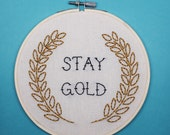 Stay Gold, Pony Boy - The Outsiders - Hand Embroidered Wall Hanging