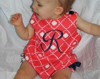 Coral Beauty Girls Monogrammed Bubble, sizes 12mos, 18mos, and 24mos