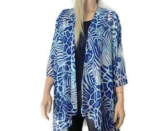 Blue reef Kimono/ Kimono cardigan-Shades of blue Lagenlook kimono chiffon kimono-ruana-  summer collection-Women Kimonos