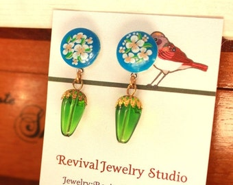 50% off Floral Blue and Green Drop Earrings