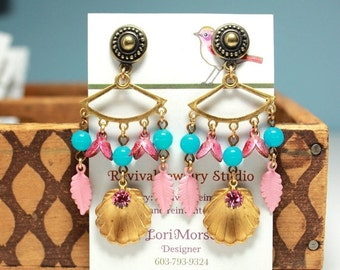 20% off Chandelier Earrings - Turquoise Pink and Gold - Post Earrings