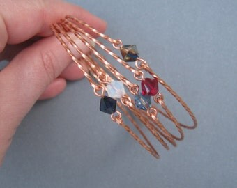 Crystal and Copper Stacking Bangles - SET of 5 - Twisted Wire with Swarovski Beads - White Opal, Dark Blue, Ruby, Denim Blue