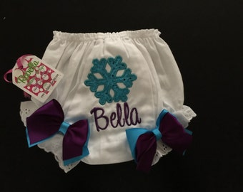 Snowflake Monogrammed ,personalized diaper cover bloomers