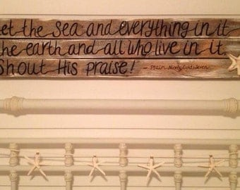 The Sea and Everything In It pallet sign beach decor cottage decor rustic wood sign