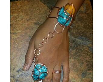 Turquoise & Amber Goddess Bracelet