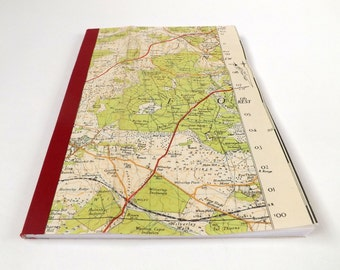 Bournemouth 1940 #4 - New Forest - Recycled Vintage Map Notebook