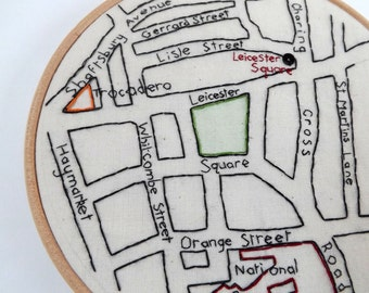 Leicester Square - Vintage London Map Embroidery
