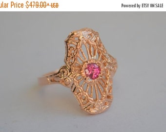 SALE Art Deco Inspired Filigree Ring in 14K Rose Gold with Mahenge