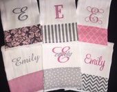 Personalized Monogrammed Baby Girl Burp Cloth Set of 6 Cloths