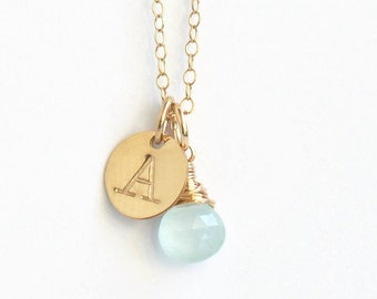 Gold Initial and Birthstone Necklace / March Birthstone Necklace / Personalized Initial Charm Necklace / Push Present New Mom