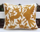 Gold  Hand Embroidered Otomi Cushion Sham