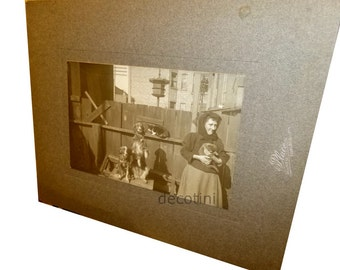 Victorian Cat Woman. Unusual Candid Cabinet Card. F.A. Place Chicago, 1900. Posing Dogs and Cats with Woman in Back Alley. Albumen Print