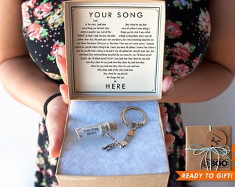 Love Song in a Bottle Keychain - Valentine's Day Anniversary Gift - Personalized Message - Cute Custom Key Chain - Gift Wrapped Ships Fast!