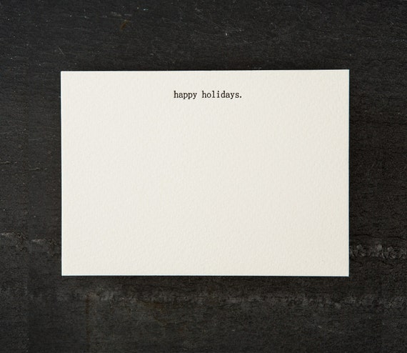 happy holidays. letterpress printed. flat card. #060