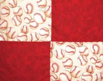 Baseball Quilt In Red For Boys Baseball Blanket