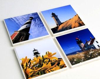 Tile Coasters, Beach Decor, Lighthouses, Nautical Decor, Photo Coasters, Set of 4