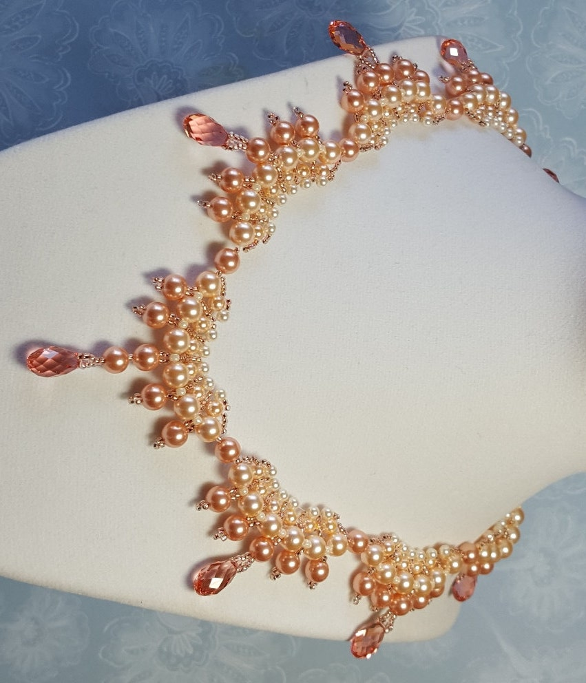 Peach Pearl Necklace: Peach Pearl And Crystal Scallop Necklace